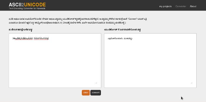 aravindavk - ASCII to Unicode Convereter for Kannada
